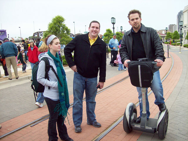 Matt Thompson, marketing director at the Louisiana Boardwalk riding his Segway