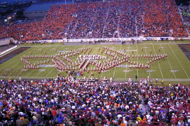 Bands perform at halftime at the Independence Bowl